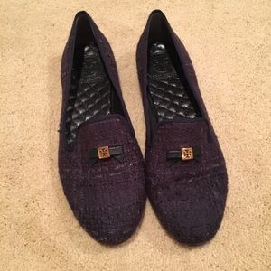 Tory Burch Navy Tweed Bow Loafer Flats Size 9